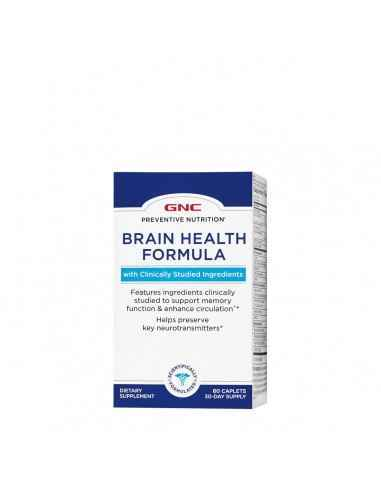 GNC Preventive Nutrition® Brain Health Formula  Ofera colina, huperzina A si tirozina pentru a promova neurotransmitatorii che