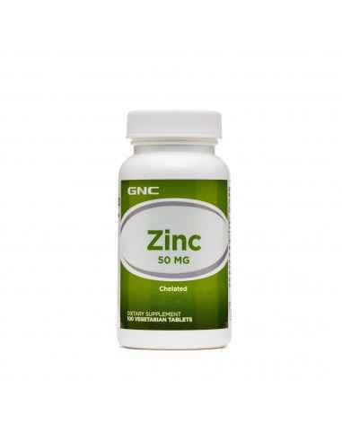 GNC Zinc Chelat 50 mg  Zincul este un oligoelement esential si se gaseste in mod obisnuit in alimente, inclusiv in carnea rosi
