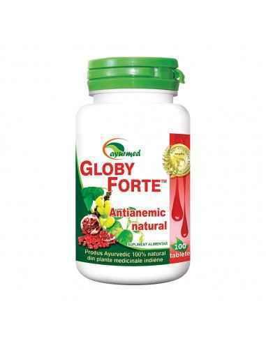 Globy Forte 100 tablete Ayurmed Prin aportul de vitamine si minerale, favorizeaza absorbtia fierului si ajuta la sinteza hemogl