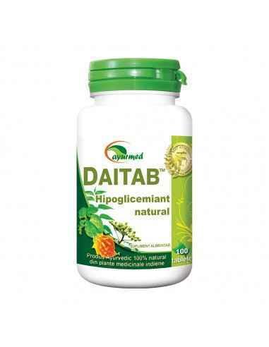 Daitab 100 tablete Ayurmed Hipoglicemiant natural, regleaza secretia de insulina, mentine concentratia normala a glucozei in sa
