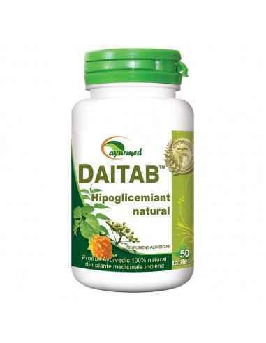 Daitab 50 tablete Ayurmed Hipoglicemiant natural, regleaza secretia de insulina, mentine concentratia normala a glucozei in san
