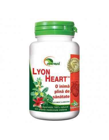 Lyon Heart 50 tablete Ayurmed Tonic cardiovascular natural, de ajutor pentru un ritm cardiac normal si o tensiune arteriala sta