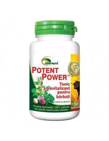 Potent Power Ayurmed 50 tablete Stimuleaza potenta. Protejeaza prostata si aparatul urinar. Stimuleaza circulatia si libidoul,