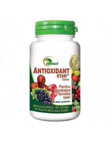 Antioxidant 50 tablete Ayurmed Contribuie la neutralizarea radicalilor liberi, echilibreaza nivelul antioxidantilor in organism