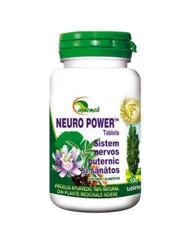 NEURO POWER 100 tablete Ayurmed Complex unic de ingrediente cu actiune neuroprotectoare. Intarzie procesele de imbatranire cere