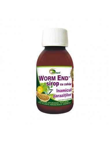 WORM END SIROP 100 ml Ayurmed Inamicul parazitilor intestinali Ajuta la eliminarea parazitilor intestinali. Elimina manifestar