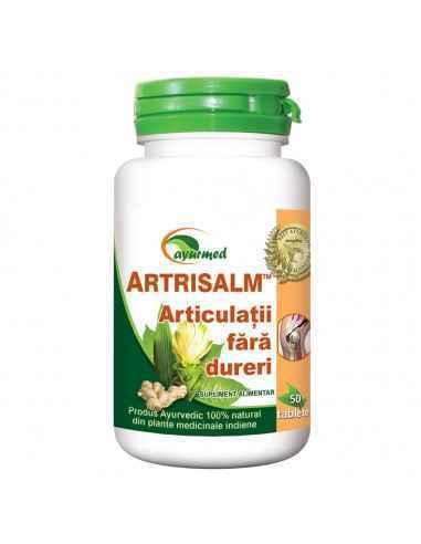 ARTRISALM 50 tablete Ayurmed Articulatii fara dureri Recomandat in toate tipurile de modificari articulare de tip inflamator,