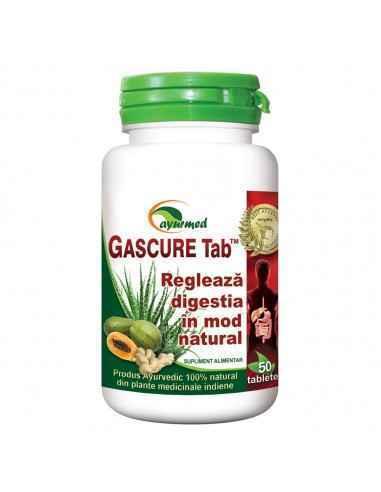 GASCURE50 tablete Ayurmed    Regleaza in mod natural functiile gastro-intestinale  Echilibreaza aciditatea gastrica si st