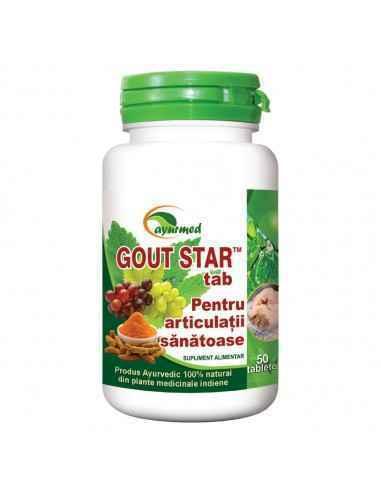 GOUT STAR articulatii sanatoase 50 tablete - Ayurmed Ajuta la eliminarea excesului de acid uric din organism si reduce riscul a