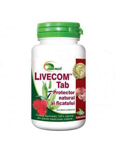 Livecom 50 tablete Ayurmed Protector natural al ficatului Hepatoprotector si regenerator hepatic. Mentine starea de sanatate a