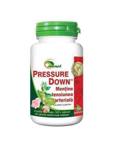 PRESSURE DOWN tensiune arteriala 50 tablete Ayurmed Recomandat pentru reglarea ritmului cardiac si normalizarea tensiunii arter