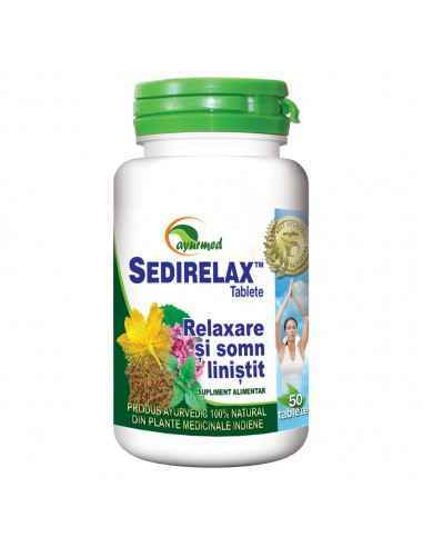 SEDIRELAX - Relaxare si somn linistit 50 tablete Ayurmed Calmant natural de zi, ce detensioneaza si favorizeaza adaptarea rapid