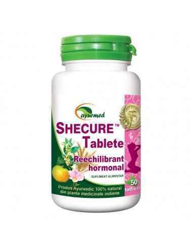 SHECURE 50 tablete - Reechilibrant hormonal Ayurmed Tonic general al aparatului genital feminin, contribuie la normalizarea cic