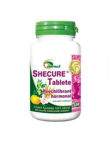 SHECURE 100 tablete - Reechilibrant hormonal Ayurmed Tonic general al aparatului genital feminin, contribuie la normalizarea ci