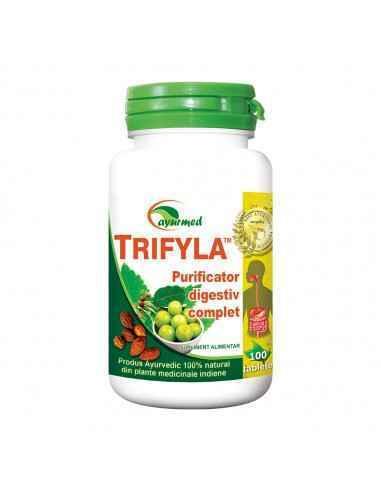 TRIFYLA 100 tablete Purificator digestiv complet Ayurmed Contribuie la normalizarea tranzitului intestinal (frecventa si consis