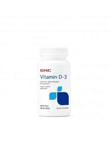 GNC Vitamina D-3 50 mcg (2000 UI) Vitamina D-3 este esentiala pentru absorbtia calciului in organism si pentru a avea oase pute