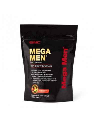 GNC Mega Men®Caramele cu Gust de Fructe Asortate Obtine 100% din doza zilnica a 14 vitamine si minerale cu doar doua caramele