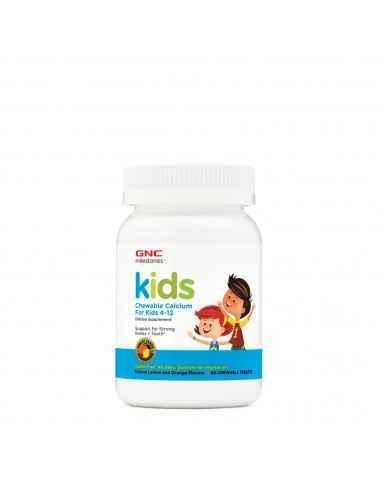 GNC Milestones® Kids Chewable Calcium, Calciu pentru Copii 4-12 ani  Avem o singura sansa sa construim oase puternice - cand s