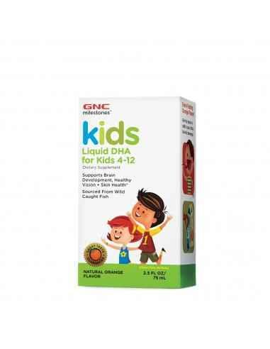 GNCMilestones® Kids DHA Lichid Aroma Naturala de Portocala Supliment alimentar bogat in Omega-3, destinat copiilor cu varste c