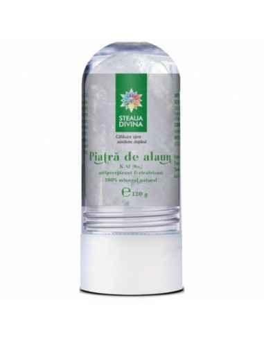 Deodorant din piatra de alaun 120 g Steaua Divina Piatra de alaun este un mineral 100% natural cu proprietati bactericide, anti