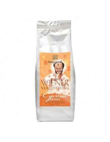 Cafea Bio Espresso Macinata 500g Sonnentor Amestec din boabe de cafea Bio Arabica de calitate superioară.