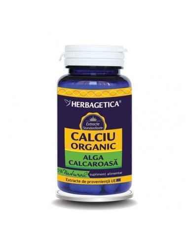 Calciu Organic 60 cps Herbagetica, Calciu Organic Menţine sănătatea sistemului osos şi a dinţilor, a sistemului muscular, stopea