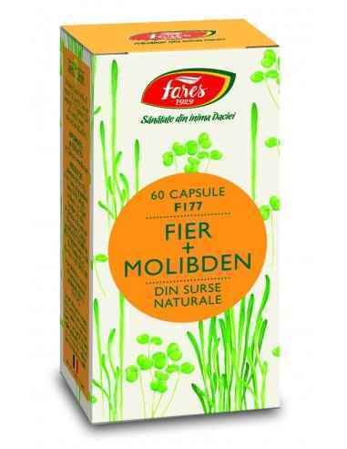 FIER + MOLIBDEN F177 60 capsule Fares 5,3 mg fier şi 37,8 mcg molibden / capsulăFierul contribuie la formarea normală a globulel