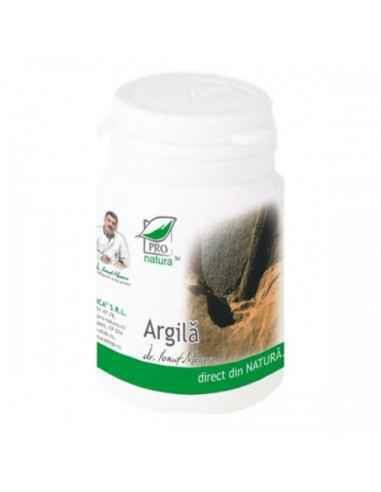 Argila 60 capsule Pro Natura-Medica, Argila 60 capsule Pro Natura-Medica Beneficii argilă:-excelent remineralizant si tonic-deto