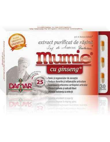Mumie Extract Purificat de Rasina cu Ginseng 30 capsule Damar, Mumie Extract Purificat de Rasina cu Ginseng Combinatie unica de