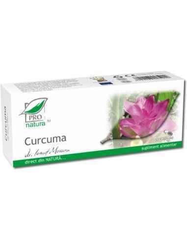 Curcuma 30 capsule Pro Natura, Curcuma 30 capsule Pro Natura Curcuma cunoscuta si sub numele de turmeric, sprijina functiile dig