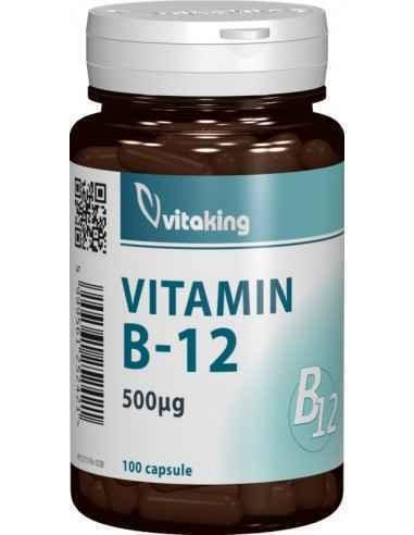 Vitamina B12 500mcg 100 cps Vitaking, Vitamina B12 500mcg 100 cpr (Cianocobalamina) Vitamina B12, numită și cianocobalamină, am