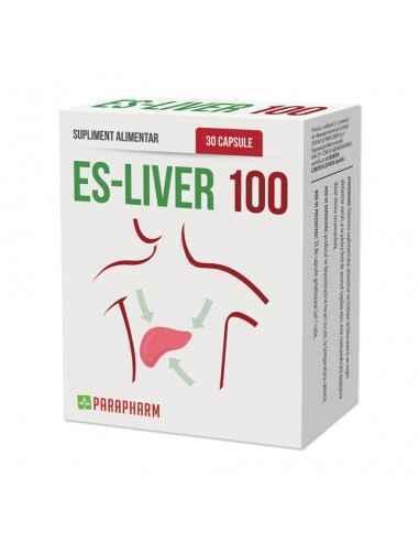 Es-Liver 100 30 capsule Parafarm În compoziția lui intră extracte vegetale, vitamine, oligominerale esențiale și aminoacizi sub