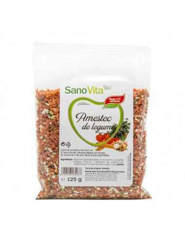Amestec de legume 125g Sanovita, Amestec de legume 125 g Combinația gustoasă de legume şi condimente uscate şi mărunțite, dă sav
