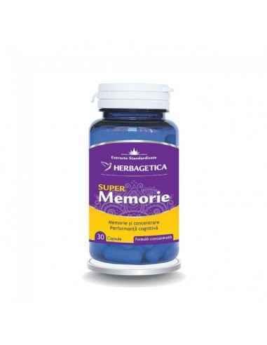 Super Memorie 30 capsule Herbagetica Super Memorie aduce un aport complex și complet sistemului nervos cu 13 extracte naturale