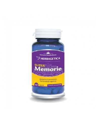 Super Memorie 60 capsule Herbagetica Super Memorie aduce un aport complex și complet sistemului nervos cu 13 extracte naturale