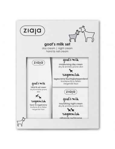 Set Goat`s Milk ten uscat, ridat - Crema de zi + crema de noapte + crema pentru maini Ziaja Pachetul cadou contine 3 creme hid
