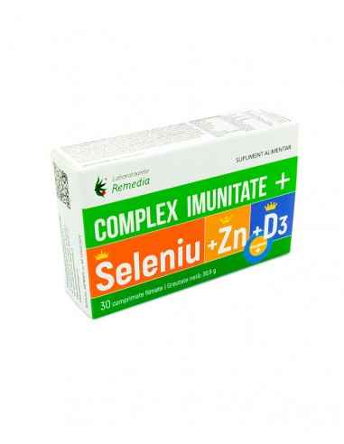 COMPLEX IMUNITATE SELENIU+ZINC+D3 30comprimate Remedia COMPLEX IMUNITATE PLUS Seleniu + Zinc + A + C + E este un supliment alim
