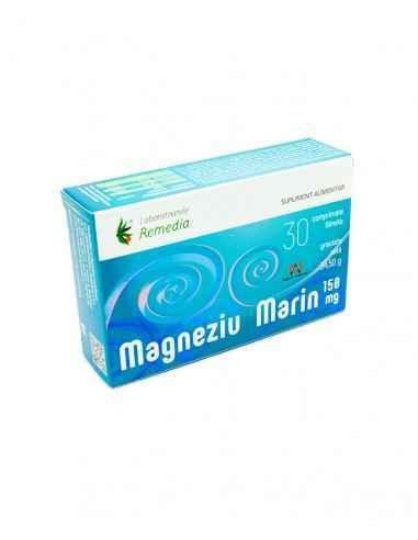 MAGNEZIU MARIN 150MG 30CPR Remedia MAGNEZIU MARIN 150 mg este un supliment alimentar care susține buna funcționare a sistemului