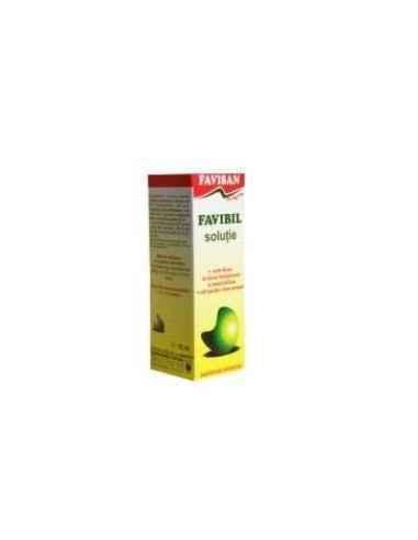 FAVIBIL SOLUTIE 10ML FAVISAN În contact cu mucoasa gastrică, produsul exercită mai întâi o acțiune stimulativă, apoi are efect