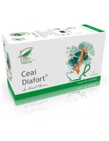 Ceai Diafort 20 doze + 5 doze cadou Pro Natura Beneficii:-Reduce valorile glicemiei-Scade abosrbtia glucidelor-Este recomandat d