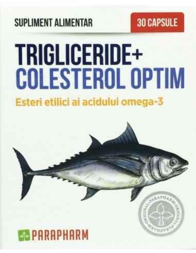 Trigliceride + Colesterol Optim 30 cps Parapharm Suplimentul alimentar Trigliceride+Colesterol Optim este obținut din pește oce