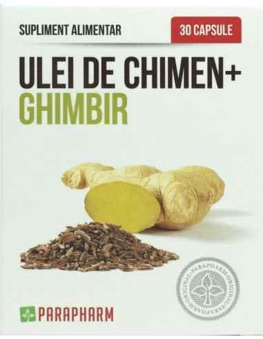 Ulei de chimen+ghimbir 30 cps Parapharm Preparatul conține ulei din semințe de chimen, ulei din rădăcină de ghimbir și vitamina