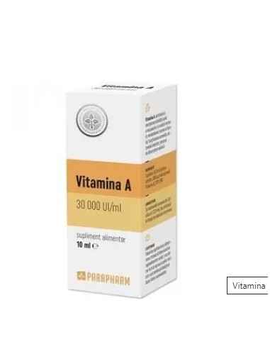 Vitamina A 30000 UI 10ml Parapharm Contribuie la: mentinerea sanatatii pielii, a mucoaselor si a vederii normale; metabolismul