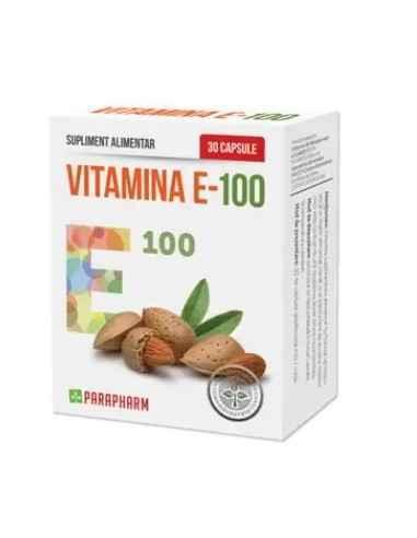 Vitamina E-100, 30 cps Parapharm Vitamina E face parte din categoria vitaminelor liposolubile si se gaseste in substante natura