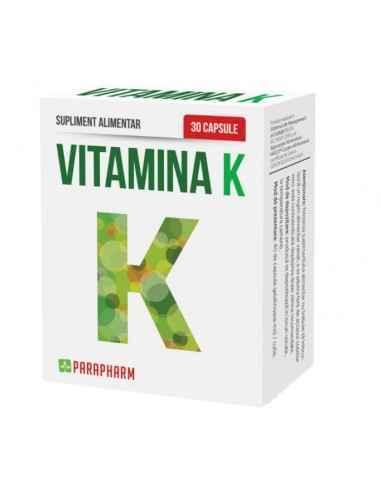 "Vitamina K, 30 cps Parapharm Numita si vitamina antihemoragica"", vitamina K este necesara pentru formarea protrombinei, care aj"