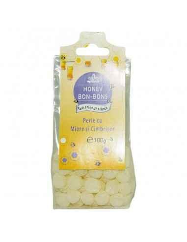 BOMBOANE MIERE&CIMBRISOR 100GR Apidava Fabricate în Franța după o rețetă tradițională, bomboanele cu miere sunt adevărate delic