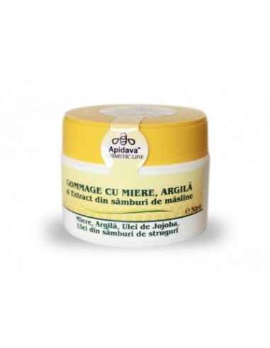 CREMA GOMMAGE MIERE&ARGILA 50ML Apidava Crema Gommage cu miere şi argilă vă curăţă porii în profunzime, iar complexul de uleiur