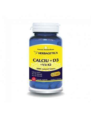 CALCIU +D3 cu vit K2 60cps Herbagetica Formulă superioară naturală cu calciu, vitaminele D3 și K2 pentru o densitate osoasa opt