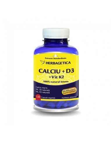 CALCIU +D3 cu vit K2 120cps Herbagetica Formulă superioară naturală cu calciu, vitaminele D3 și K2 pentru o densitate osoasa op