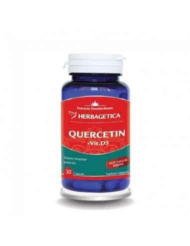 QUERCETIN + VITAMINA D3 30 cps Herbagetica Sistem imunitar fortificat. Antioxidant natural. Protejează organismul de acțiunea r